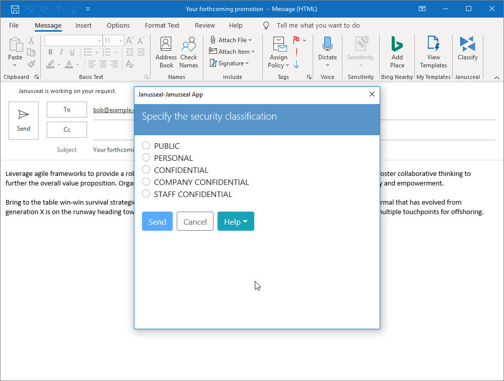 Janusseal App for Outlook Windows pop up for classification