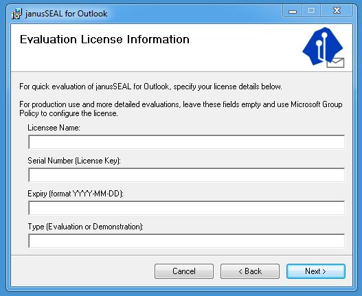 Janusseal Outlook Licence GUI