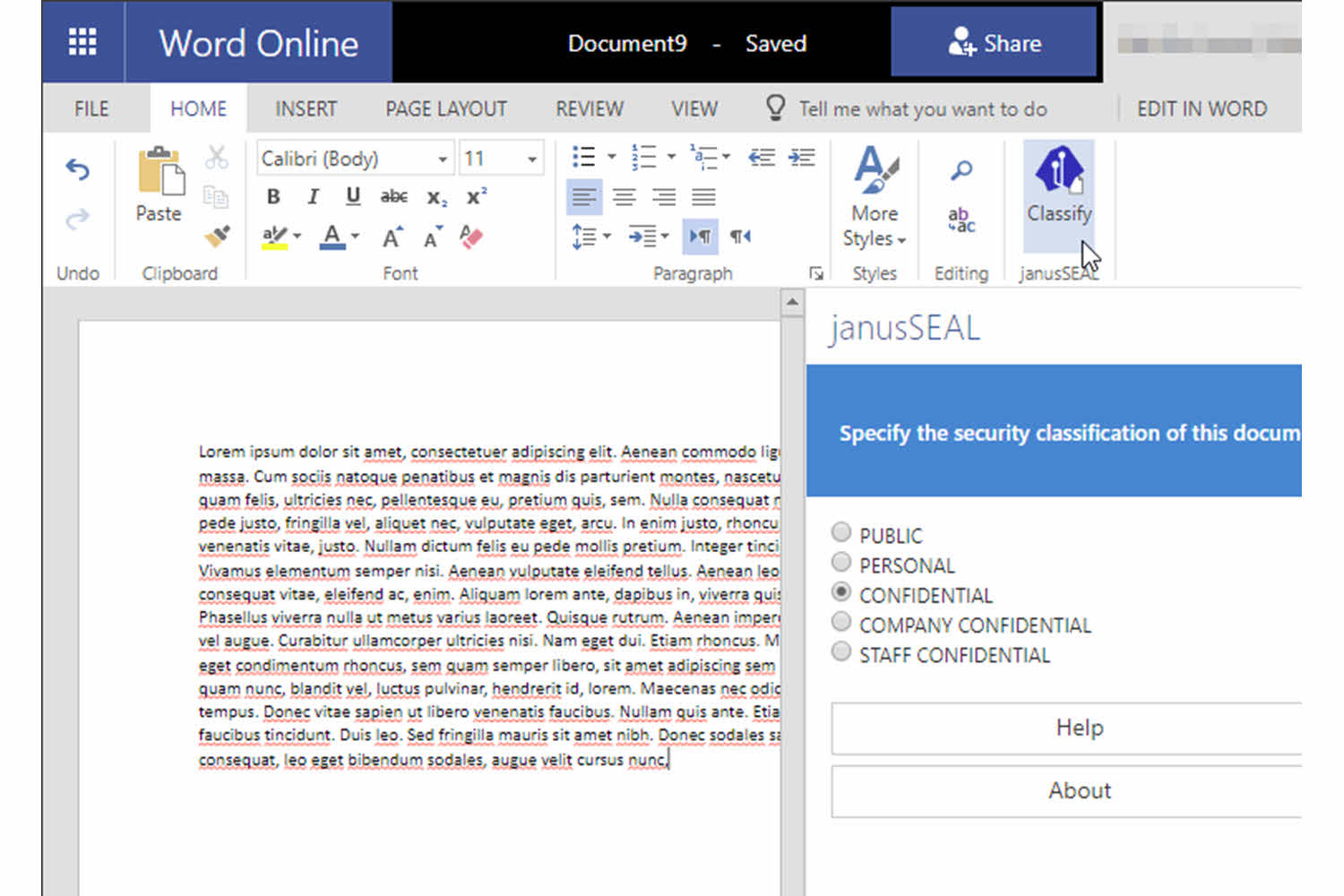 Assign security classifications Word and Excel online