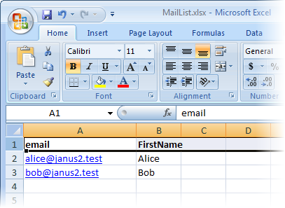 Mail list for creating a mail merge with Janusseal for Outlook