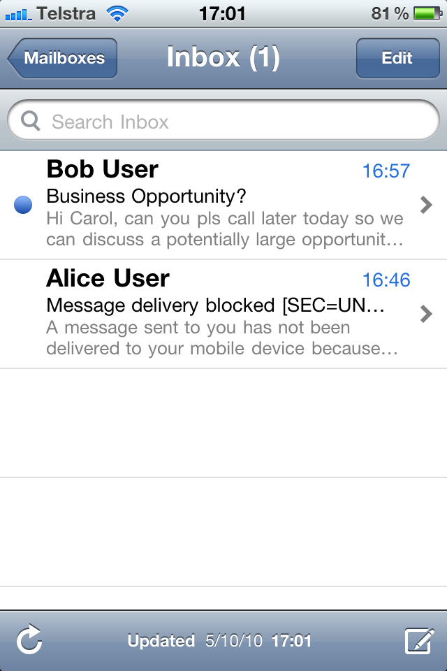 iPhone mail inbox showing jausGATE message replacement