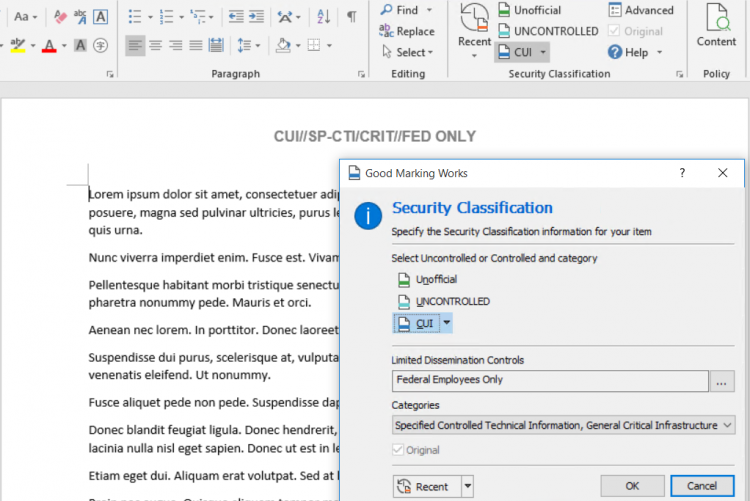 Easy select - accurately add a Security Classification label to MS Word