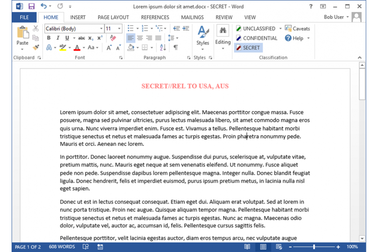 Easily add a Security Classification label to MS Word