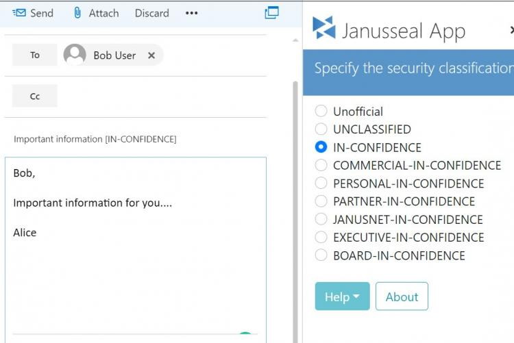 Users can classify the message as they write using the Apps or add-in button from Outlook, OWA, tablet or mobile device