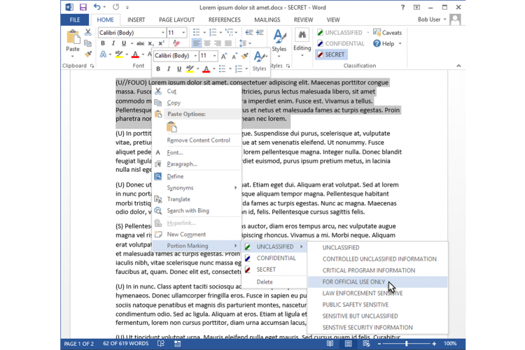 Using the context menu in Janusseal Documents to set the portion marking of a paragraph in an MS Word Document