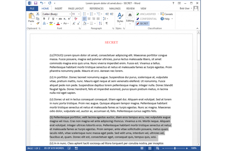 Add Portion Marking to each paragraph of an MS Word Document. The document's classification cannot be set lower than the most sensitive portion.
