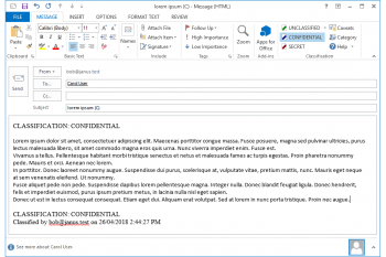 Using janusSEAL for Outlook to set the message's security classification while composing the email