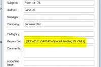 CUI compliant markings in meta data