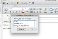 janusSEAL's  classification dialog, running in Microsoft Outlook for Mac 2011