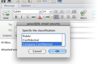 janusSEAL's  classification dialog, where the user has selected a classification